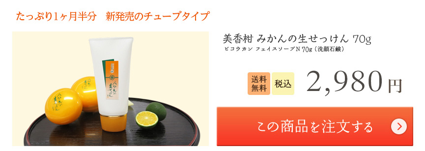 美香柑 みかんの生せっけんチューブタイプ 70g 2,682 円 この商品を注文する